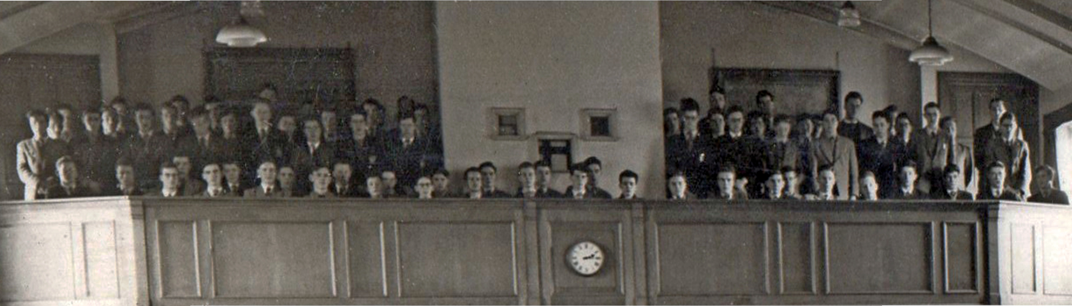 Sixth form on the balcony in 1956